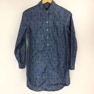 Gap XS Blue Chambray Denim Polkadot Top